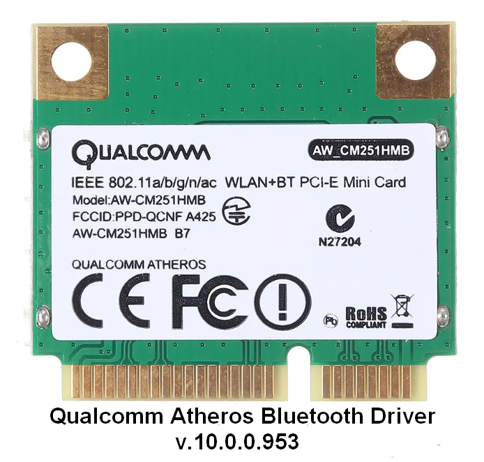 Qualcomm Atheros Bluetooth Driver v.10.0.0.953 Windows 10 32-64 bits