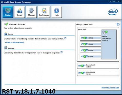 Intel Rapid Storage Technology (RST) Drivers v.18.1.7.1040 Windows 8.1 / 10 64 bits
