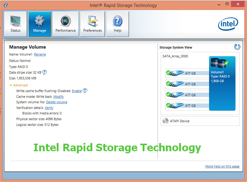 Intel Rapid Storage Technology (RST) Drivers v.17.7.0.1006 Windows 10 64 bits